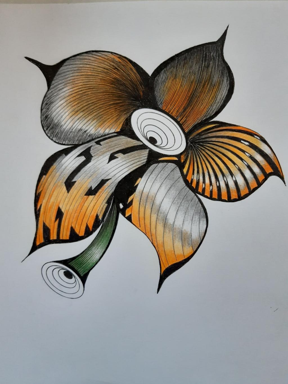 pentekening ingekleurd met kleurpotloden  Wil Vermeulen © BDU