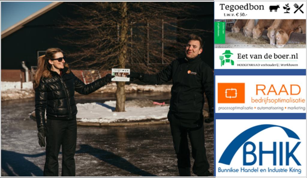 <p>Marleen Hoogenraad-de Kruijf reikt de tegoedbon uit aan Wilbert Vernooij</p>