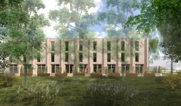 Impressie van de (achterzijde van de) woningen die gebouwd gaan worden op de kavel Larikslaan 3.