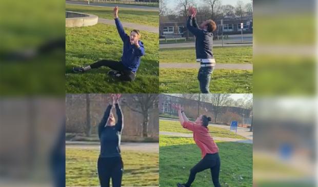 De studenten doen zelf ook mee met de challange. (Links boven: Bram Hanraads, Rechts boven: CorneeIjssennagger, Links onder: Kirsten Wierda, Rechts onder: Sonja Wijnia