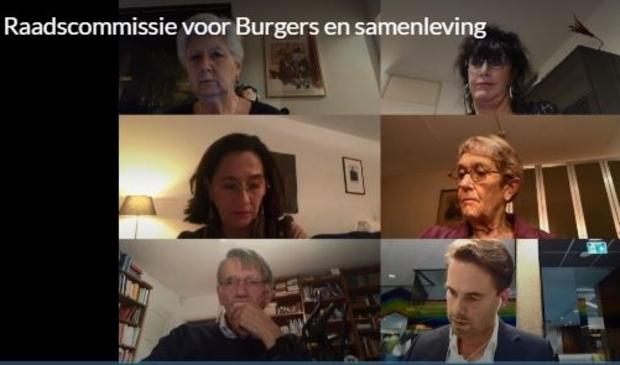 <p>Enkele leden van de raadscommissie Burgers en Samenleving tijdens de online vergadering op 28 oktober.</p>