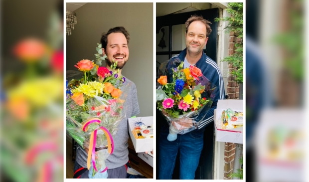 Joris van Vliet en Ronald Smits kregen van hun medewerkers taart en bloemen thuisbezorgd vanwege hun 10-jarig bedrijfsjubileum