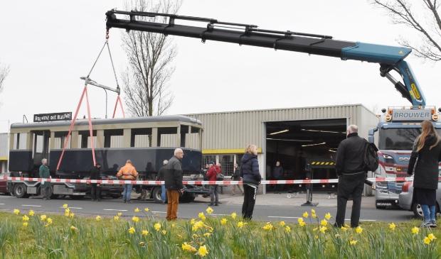 <p>De aankomst van het eerste tramstel in de Waarderpolder in april.&nbsp;</p>