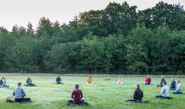 Cursisten van Zen.nl Amersfoort-Leusden mediteerden zaterdag 20 juni van zonsopgang tot zonsondergang in Den Treek