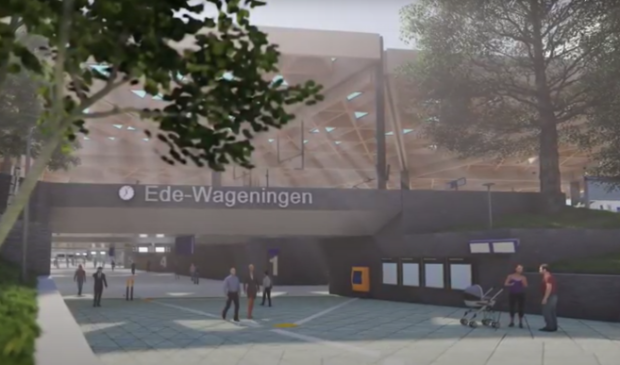 <p>Een deel van het ontwerp voor het nieuwe station Ede-Wageningen</p>