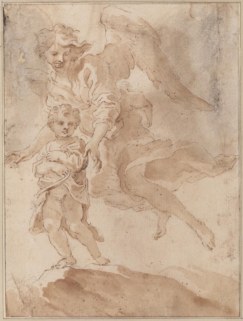 Giovanni Lorenzo Bernini, Een kind met een beschermengel, ca. 1660-65, pen en bruine inkt, penseel en bruine inkt, over zwart krijt op papier, 209 x 156 mm Eigen Foto © BDU media