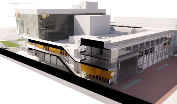 Impressie van het ontwerp voor de Pathé-bioscoop in het Stadshart.