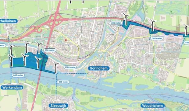<p>De windmolens ingetekend op de plattegrond van Gorinchem</p>