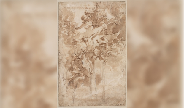 Giovanni Lorenzo Bernini, Allegorie op het Heilige Bloed van Christus, ca. 1670, pen en bruine inkt, penseel en bruine inkt, over zwart krijt op papier, 386 x 247 mm