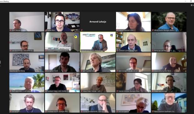 Deelnemers aan de online workshop van het Arbeidsmarktplatform van de Euregio Rijn-Waal.