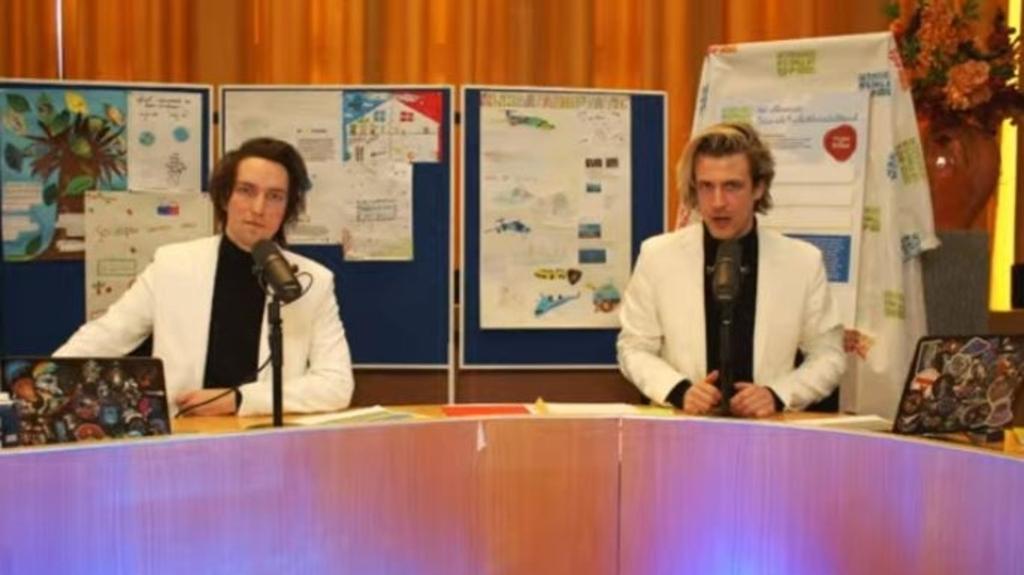 Klimaatvloggers Jelle en Dave praatten de Kinderklimaattop aan elkaar. Screenshot Kinderklimaatverbond © BDU Media