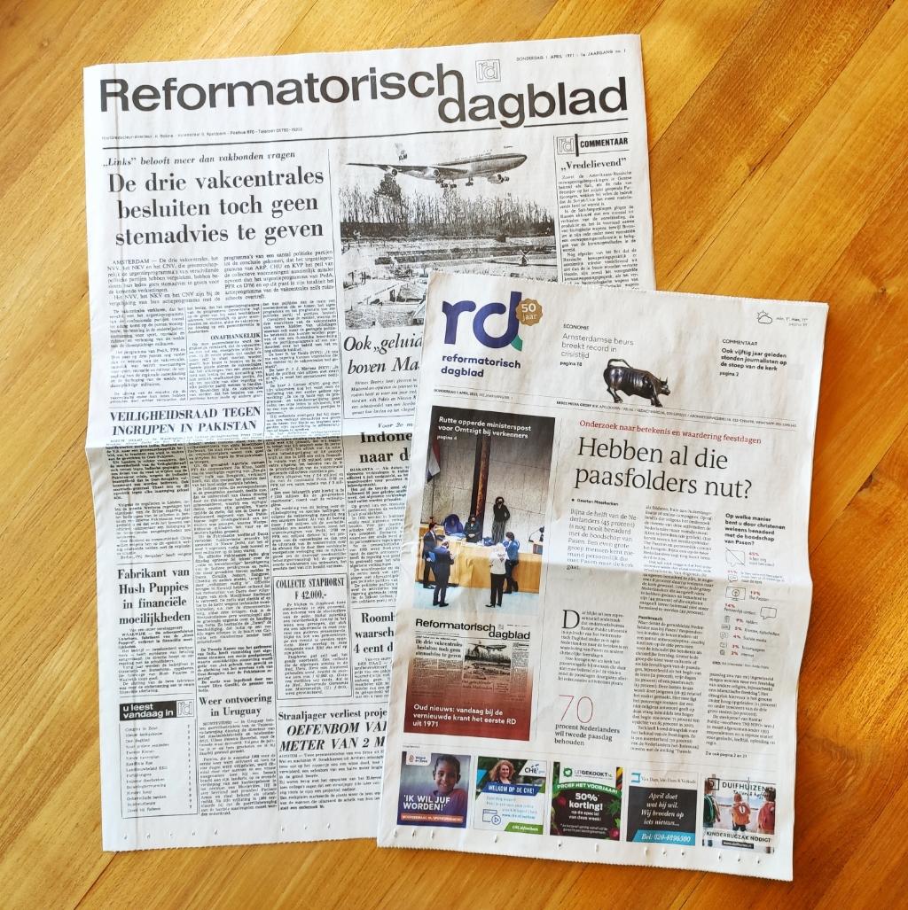 <p>De voorpagina van het gerestylde RD en een herdruk van de eerste uitgave van 1 april 1971.</p> BDUprint © BDU media