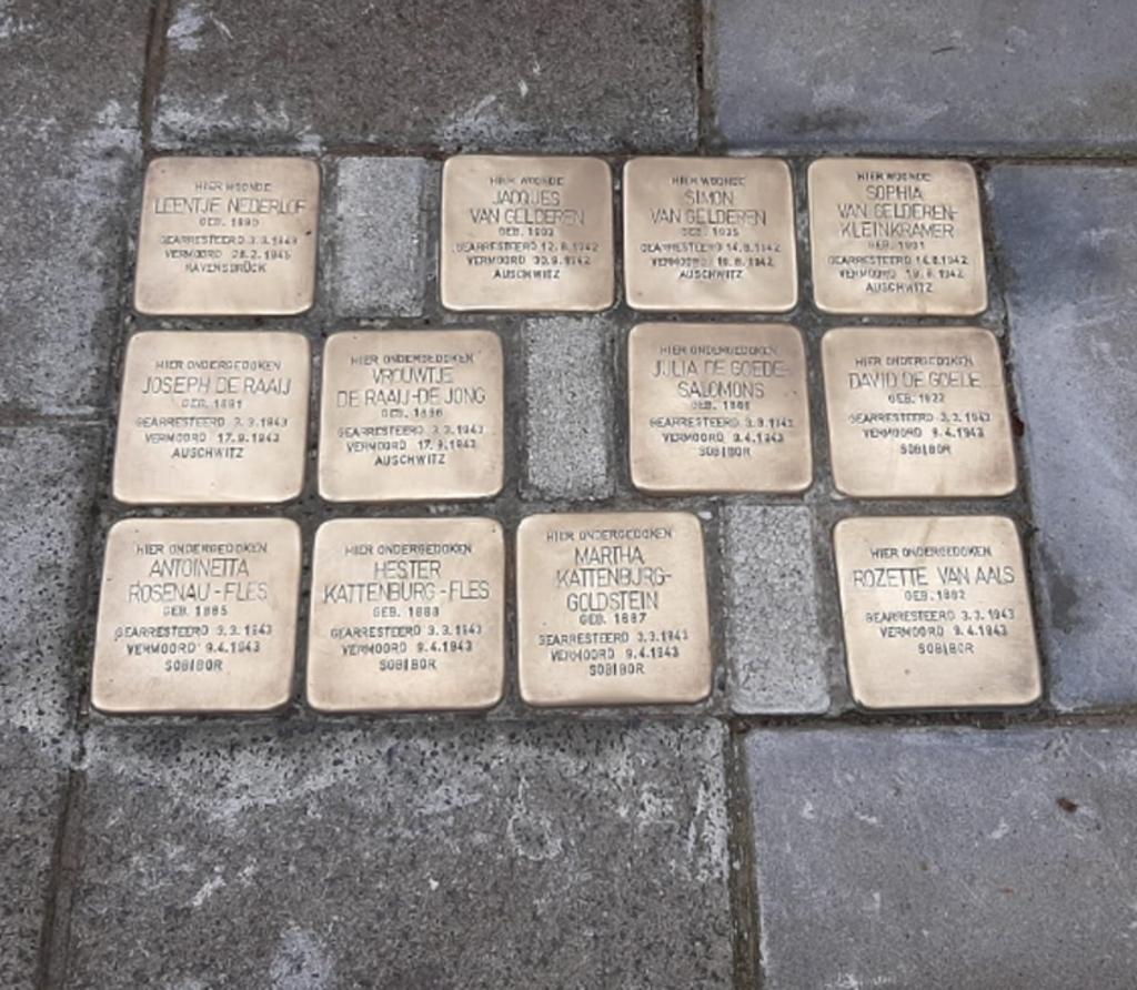 Zo zien de stenen eruit na de schoonmaakbeurt Stichting Struikelstenen Sliedrecht © BDU media