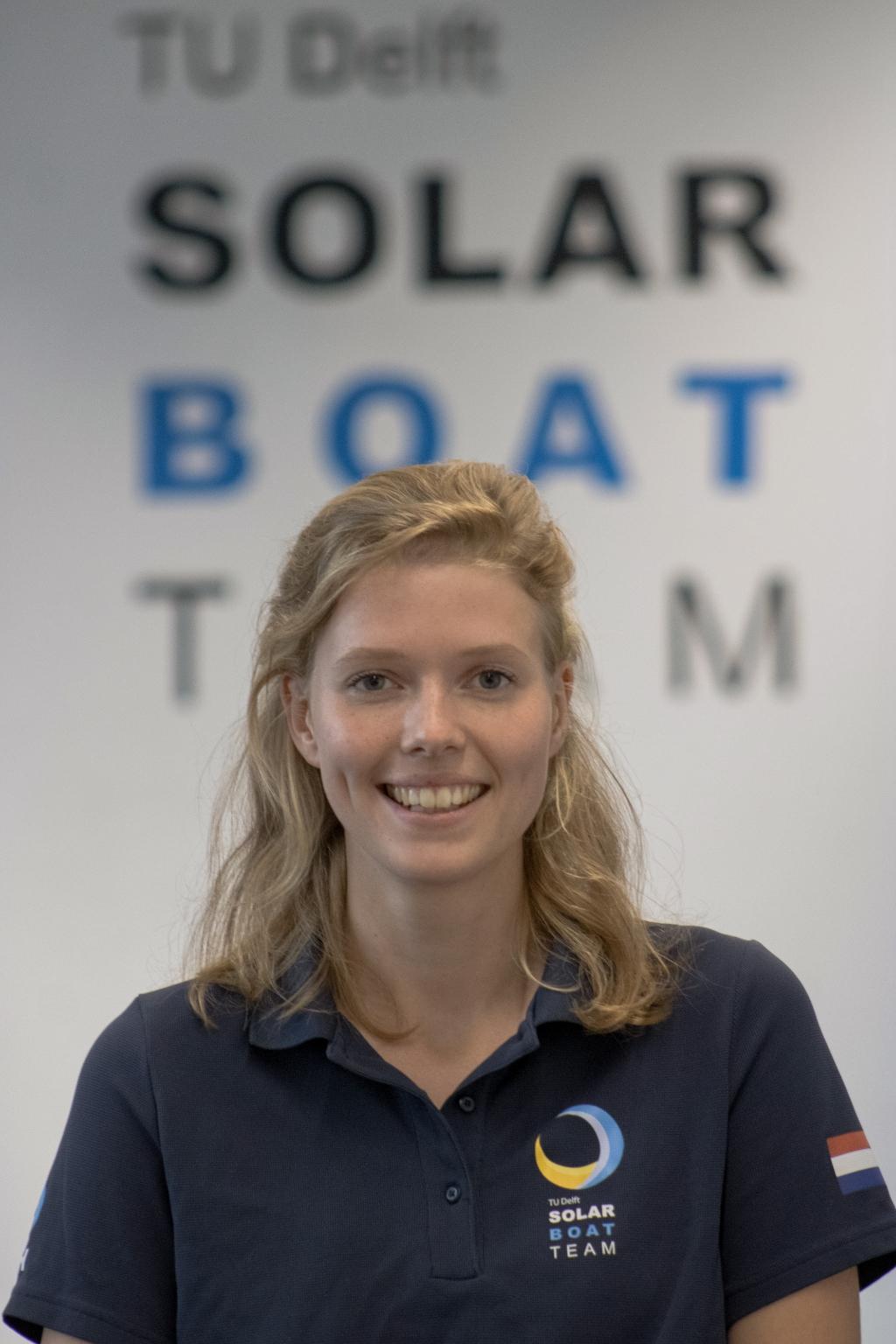"""Laura Hurenkamp <span lang=""""NL"""">van het TU Delft Solar Boat Team.</span> TU Delft © BDU media"""