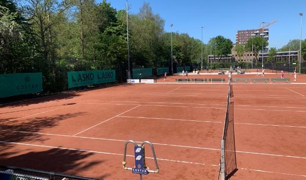 <p>De indeling van de tennisbanen is veranderd. Ze liggen nu steeds met twee aan elkaar.</p>