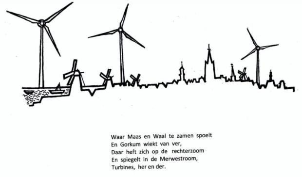 <p>Bij het gedicht is een tekening van de skyline van Gorinchem gemaakt</p>