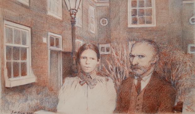 """<p dir=""""ltr"""">Vincent en Willemien van Gogh in het Remonstrantse Hofje door Otto Schilling.&nbsp;</p>"""