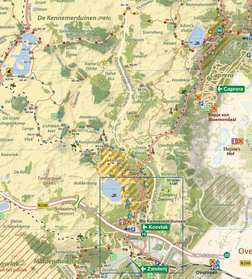 Volg de route aan de hand van de gele puntjes/paaltjes. NP Zuid-Kennemerland © BDU Media