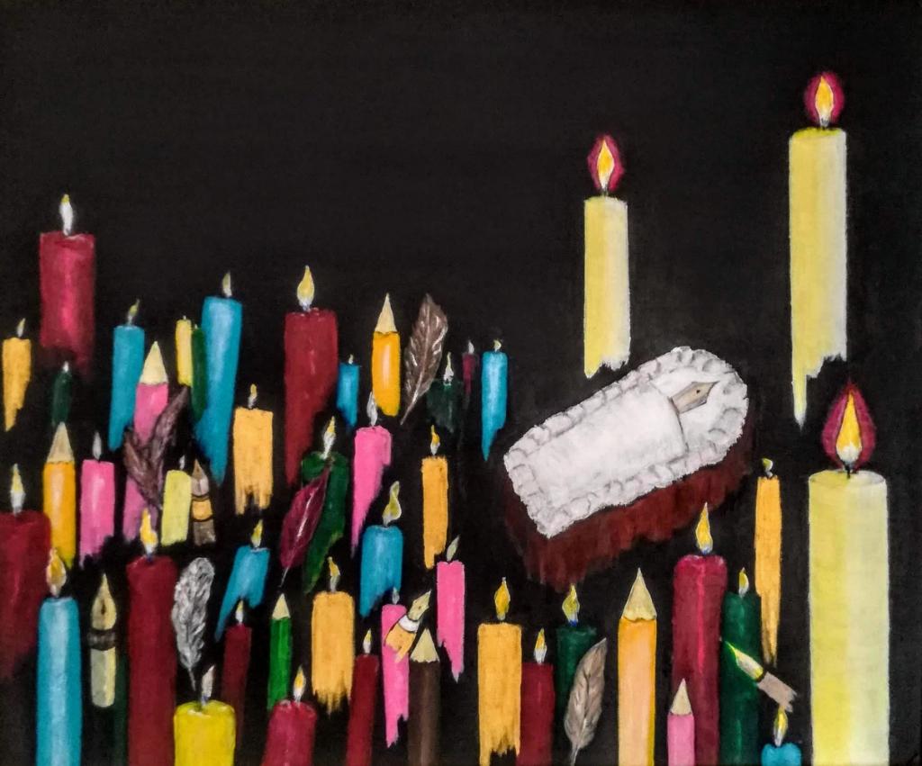 Het schilderwerk dat hoort bij het gedicht over Charlie Hebdo Nico Croes © BDU media