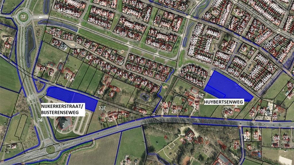 Een kaart met de locaties voor de flexwoningen. Gemeente Putten © BDU media