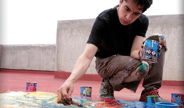 <p>Pablo Esteban Sanchez Rijlaarsdam zijn werk kenmerkt zich door een intensieve manier van schilderen en fel kleurgebruik. </p>