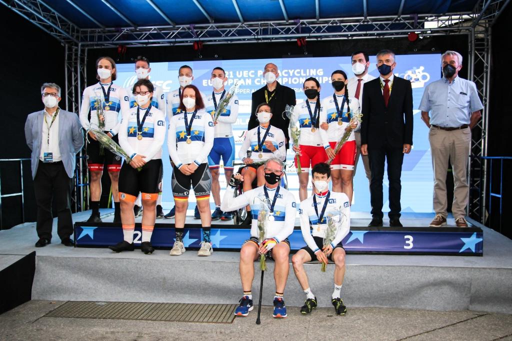 Alle kampioenen. Marieke in rolstoel. UEC European Paracycling Championships © BDU Media