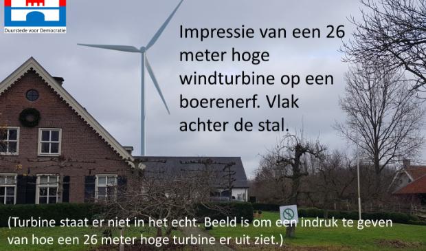 Imaginaire windturbine op boerenerf