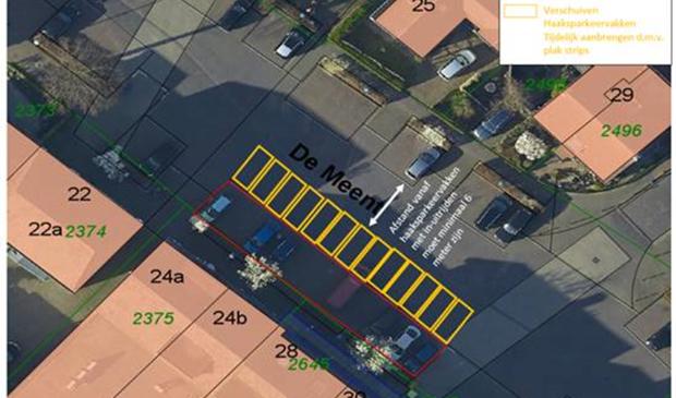 De parkeerplaatsen worden opgeschoven om een terras mogelijk te maken voor restaurant Buitengewoon Gemeente Bunnik © BDU media