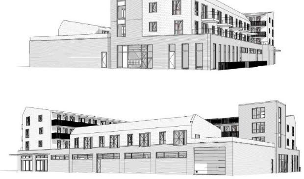 <p>Het nieuwe winkelcentrum krijgt drie lagen met woningen.</p>