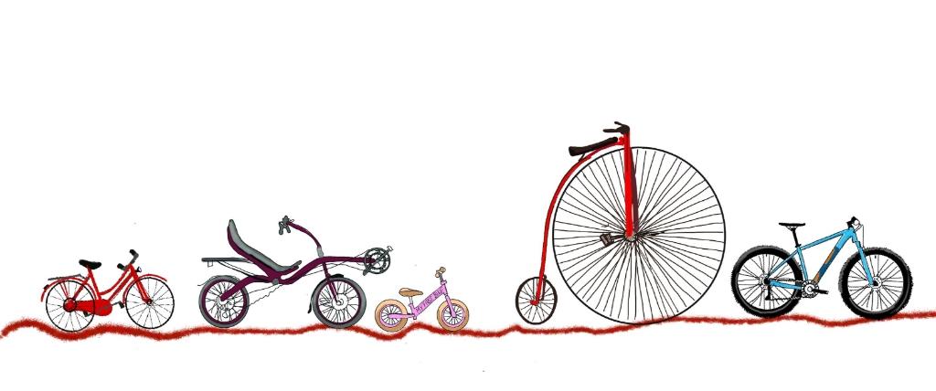 Enkele van de fietsen die als een rode draad door de (levens)verhalen rollen.  Yvon Zmmer © BDU media