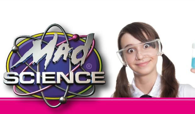 logo mad science met meisje met reageerbuis