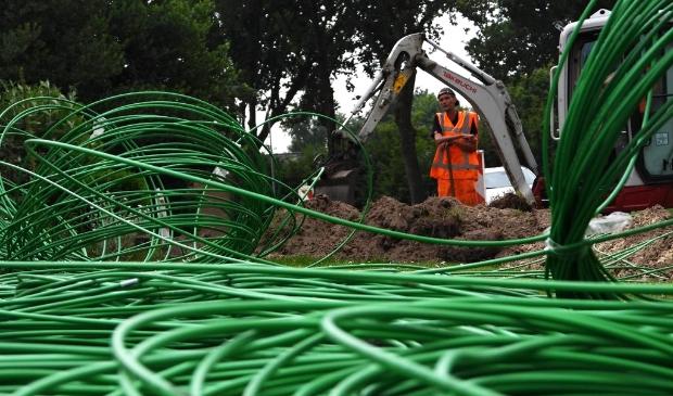 De kabel van DELTA Fiber Netwerk is groen