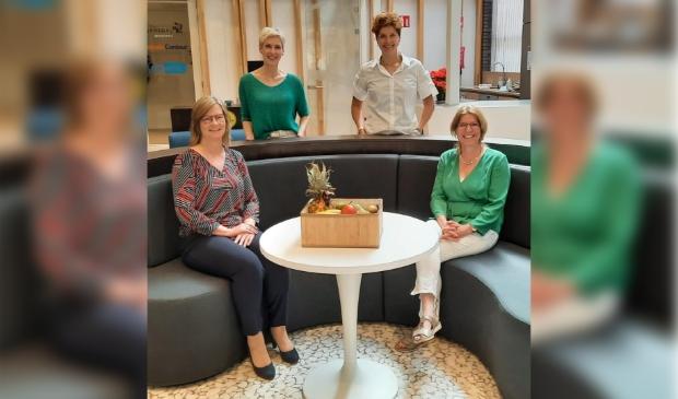 Van links naar rechts en van boven naar beneden op de foto: Bea Schulting (UWV), Christèl Zeldenrust (Inclusief Groep), Hiltje van Ledden (Zorggroep), Cindy Traa (Zorggroep)