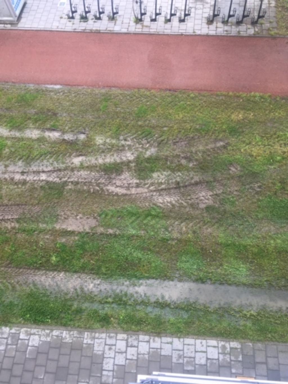 Gras vernield door maaien met grote tractor De Graaf © BDU media