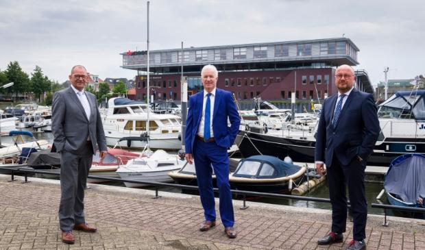 <p>De wethouders Piet Vat, Ed Goverde en Ton Spek.</p>