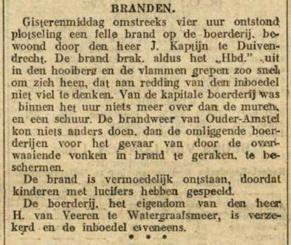 Maasbode, 1 augustus 1913 Stichting Oud-Duivendrecht © BDU media