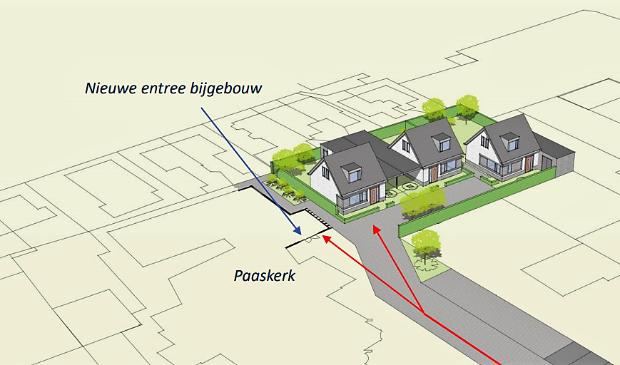 <p>De drie te bouwen woningen op het terrein van de Paaskerk.</p>
