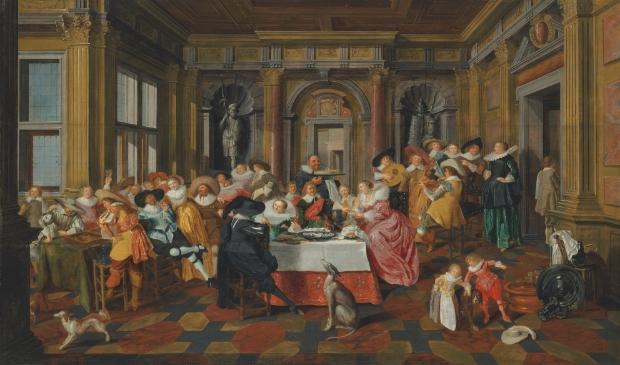 <p>Elegant gezelschap in een Hollandse Renaissancezaal Door Dirck Hals (Haarlem 1591&ndash;1656) en Dirck van Delen (Heusden 1604/5-1671 Arnemuiden) </p>