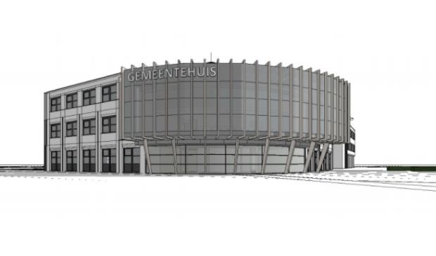 <p>Het ontwerp voor het nieuwe gemeentehuis.</p>