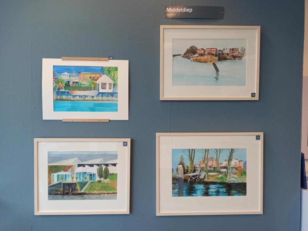 De aquarellen met Sliedrechts zicht. Marjanne Dijkstra © BDU media
