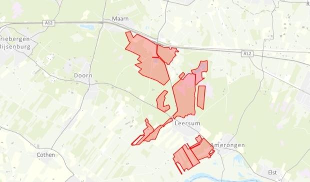 <p>De gebieden die nog steeds afgesloten zijn</p>