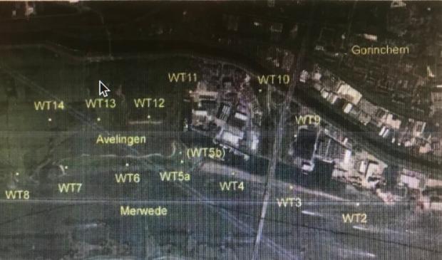 Kaartje uit TNO rapport over onderzocht zoeklocaties voor windturbines (WT)