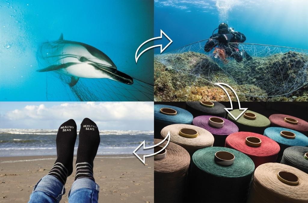 Van het afval in de zee worden sokken gemaakt. Aangeleverd © BDU Media