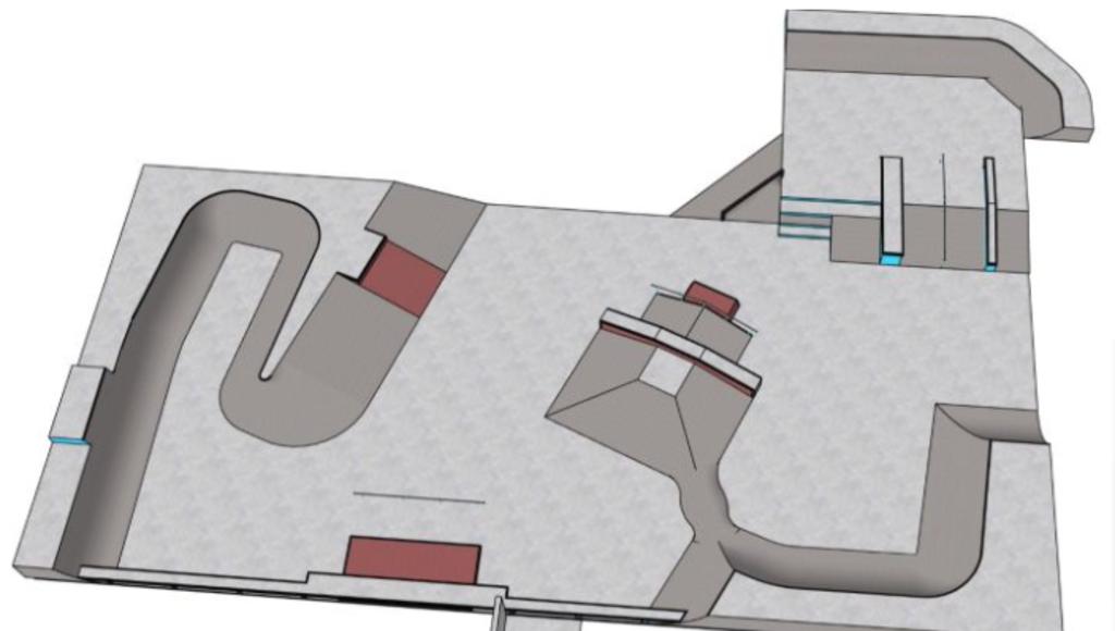Het ontwerp van de nieuwe skatebaan in het Stadspark. Sportservice Veenendaal © BDU media