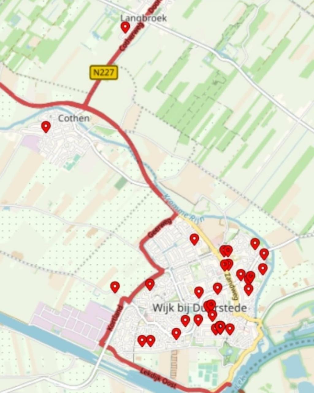 Kaartje van de inbraaklocaties in 2021 Politie Wijk bij Duurstede © BDU media