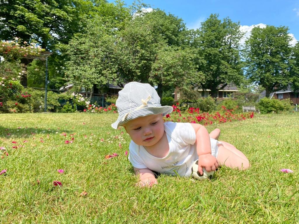 """,,Onze kleinzoon kruipt in het Rosarium in Driebergen op z'n gemak over het gras."""" Cleem & Yvonne Menne © BDU"""
