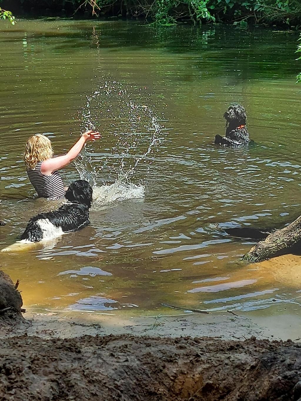 Mijn (autistische en verstandelijk beperkte) dochter Mila in het Lockhorsterbos. Het was een warme, prachtige dag en tijdens het uitlaten van onze eigen hond mocht zij het in het water spelen. Mila is gek op dieren. Deze hond (niet onze hond) vond het prachtig om te spelen met Mila. Ze zijn een hele lange tijd samen in het water geweest en ik heb onder meer deze mooie foto gemaakt.  Gaby Mulder © BDU media