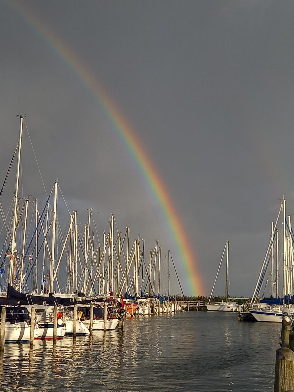 De foto is genomen in de jachthaven in Enkhuizen afgelopen week, waar we 2 nachten lagen tijdens onze zeiltrip vanuit Nijkerk. De prachtige regenboog zorgde ervoor dat veel mensen uit hun bootje kwamen.  Inge Trommel © BDU Media