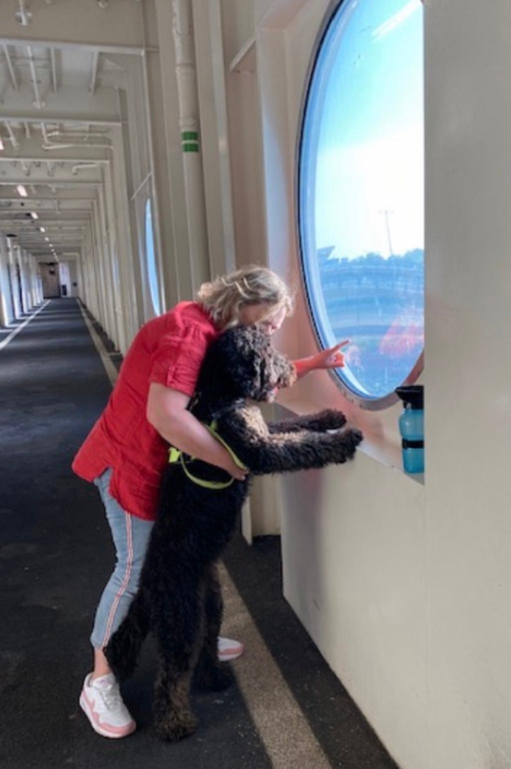 Met onze slimme en mooie blindegeleidehond in opleiding op weg naar Texel, zeehonden heeft ze al gezien. Meta Oukes © BDU media
