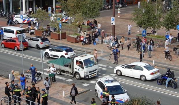 <p>De actie vond midden in het centrum plaats.</p>